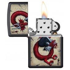 Зажигалка ZIPPO Dragon Ace с покрытием Black Matte, латунь/сталь, чёрная, матовая, 36x12x56 мм 29840
