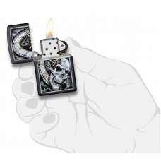 Зажигалка ZIPPO Skull Clock с покрытием Black Matte, латунь/сталь, чёрная, матовая, 36x12x56 мм 29854