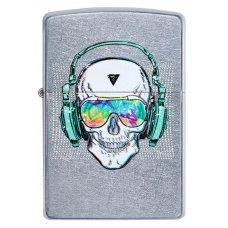 Зажигалка ZIPPO Skull Headphone с покрытием Street Chrome™, латунь/сталь, серебристая, 36x12x56 мм 29855