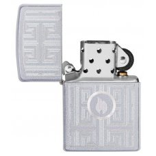 Зажигалка ZIPPO Labyrinth с покрытием Satin Chrome, латунь/сталь, серебристая, матовая, 36x12x56 мм 29857