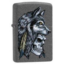 Зажигалка ZIPPO Wolf Skull с покрытием Iron Stone™, латунь/сталь, серая, матовая, 36x12x56 мм 29863