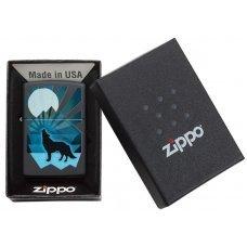 Зажигалка ZIPPO Wolf and Moon с покрытием Black Matte, латунь/сталь, чёрная, матовая, 36x12x56 мм 29864