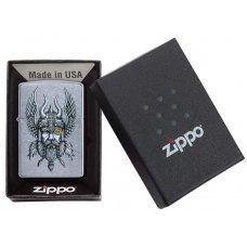Зажигалка ZIPPO Viking Warrior с покрытием Street Chrome™, латунь/сталь, серебристая, 36x12x56 мм 29871