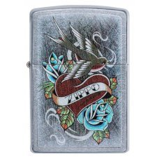 Зажигалка ZIPPO Vintage Tattoo с покрытием Street Chrome™, латунь/сталь, серебристая, 36x12x56 мм 29874