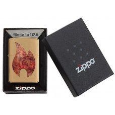 Зажигалка ZIPPO Rusty Flame с покрытием Brushed Brass, латунь/сталь, золотистая, 36x12x56 мм 29878