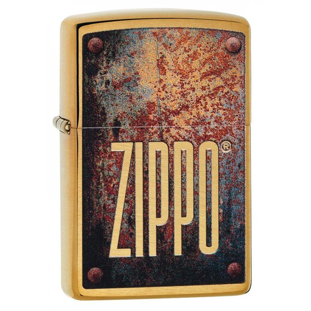 Зажигалка ZIPPO Rusty Plate с покрытием Brushed Brass, латунь/сталь, золотистая, 36x12x56 мм 29879