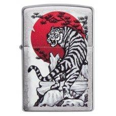 Зажигалка ZIPPO Asian Tiger с покрытием Brushed Chrome, латунь/сталь, серебристая, 36x12x56 мм 29889