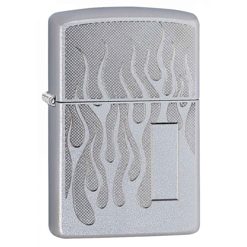 Зажигалка ZIPPO с покрытием Satin Chrome, латунь/сталь, серебристая, матовая, 36x12x56 мм 29910