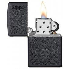 Зажигалка ZIPPO Tone on Tone Design с покрытием Black Matte, латунь/сталь, чёрная, 36x12x56 мм 29989