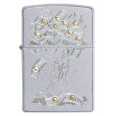 Зажигалка ZIPPO Money Tree Design с покрытием Satin Chrome, латунь/сталь, серебристая, 36x12x56 мм 29999