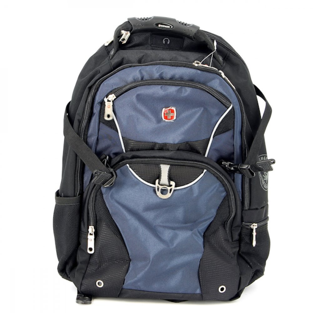 """Рюкзак WENGER, 15"""", чёрный, синий, 2 отделения, карман-органайзер, полиэстер, 36х19х47, 32 л 3263203410"""