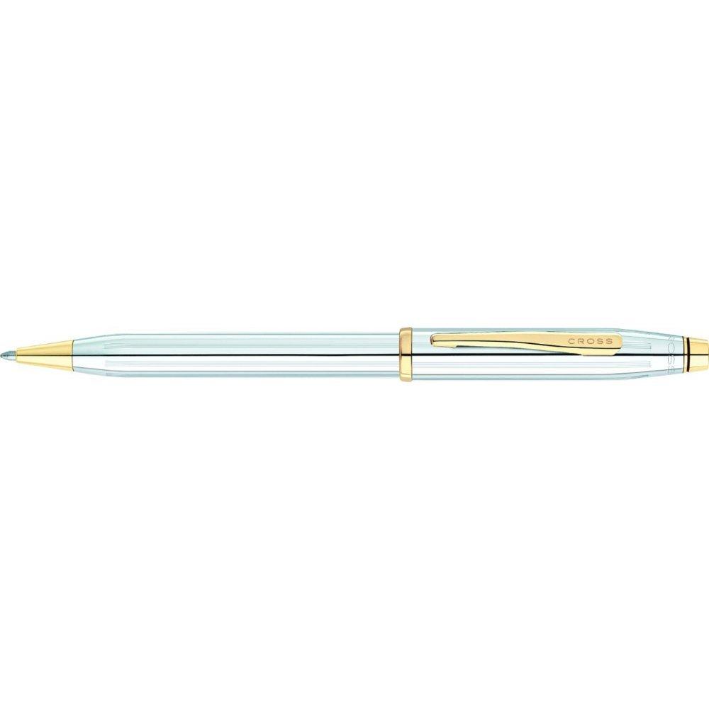 Шариковая ручка Cross Century II. Цвет - серебристый с золотистой отделкой. 3302WG