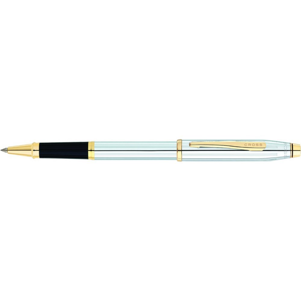 Ручка-роллер Selectip Cross Century II. Цвет - серебристый с золотистой отделкой. 3304