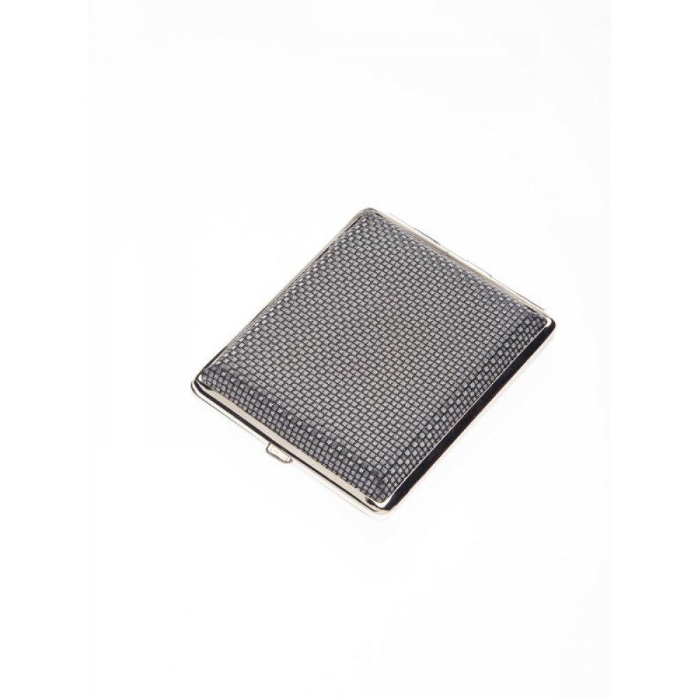 Портсигар S.Quire, сталь+искусственная кожа, черно-серебристый узор, 100*83*19 мм 340022-18