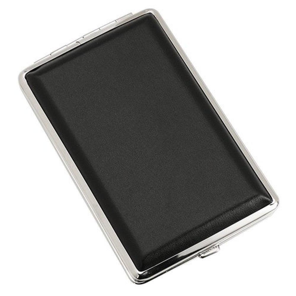 Портсигар S.Quire, сталь+искусственная кожа, черный цвет гладкий, 74*115*18 мм 340023-03