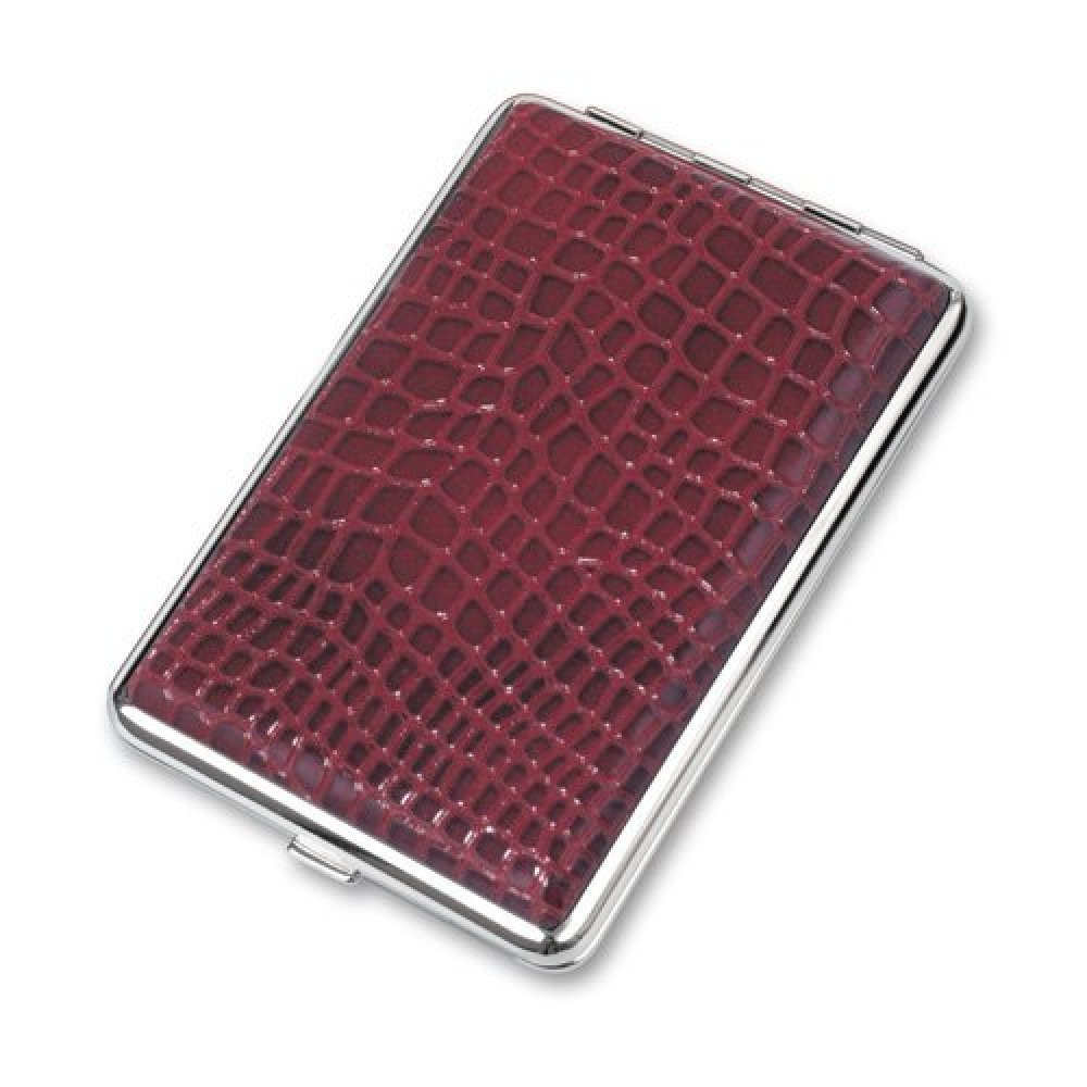 Портсигар S.Quire, сталь+искусственная кожа, красный цвет с рисунком, 74*115*18 мм 340023-67