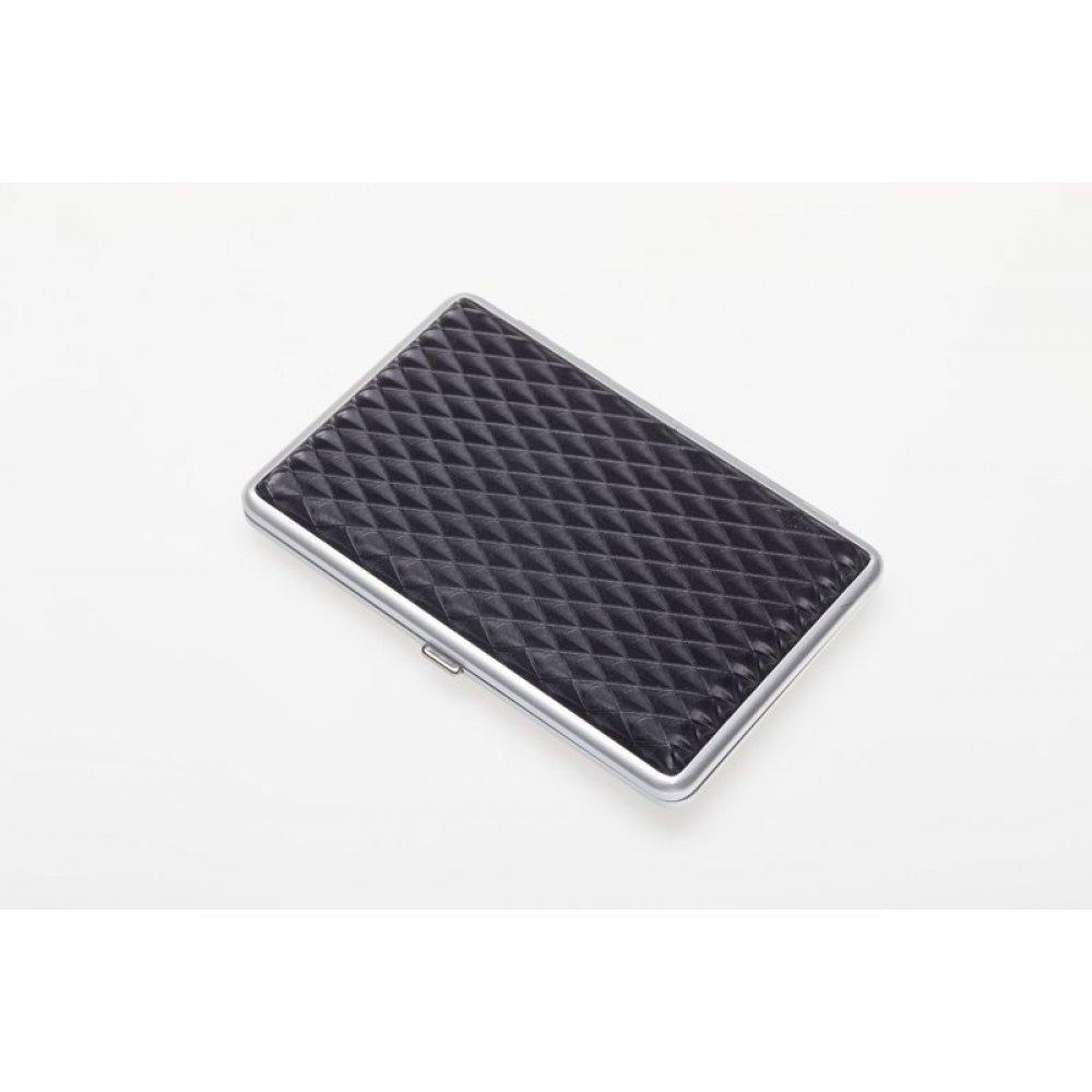 Портсигар S.Quire, сталь+искусственная кожа, черный цвет с рисунком, 96*93*19 мм 340023-82-3