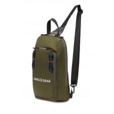 Рюкзак SWISSGEAR с одним плечевым ремнем, зеленый/оранжевый, полиэстер рип-стоп, 18 x 5 x 33 см, 4 л