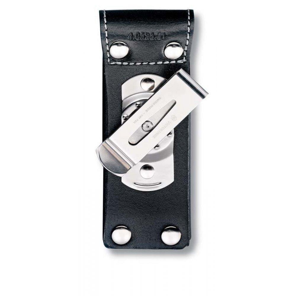 Чехол на ремень VICTORINOX для ножей 111 мм толщиной 3 уровня, с поворотной клипсой, кожаный, чёрный 4.0523.31