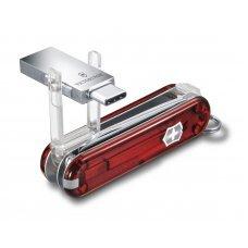 Нож-брелок Victorinox@work, 58 мм, с USB-модулем 3.0/3.1 16 Гб, 8 функций, полупрозрачный красный 4.6235.TG16B1