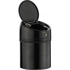 Пепельница S.Quire круглая c откидной крышкой, сталь, покрытие никель и черная краска, черный, 67 мм