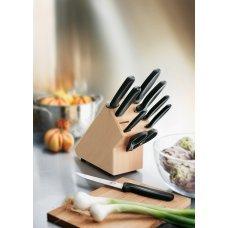 Набор из 9 столовых приборов VICTORINOX: 6 ножей, вилка д/мяса, ножницы, мусат, в буковой подставке 5.1193.9