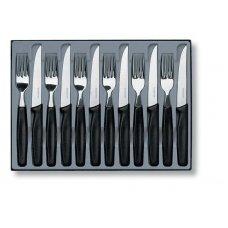Набор столовых приборов VICTORINOX: 6 ножей для стейков 5.1233 и 6 вилок 5.1543, чёрная рукоять 5.1233.12