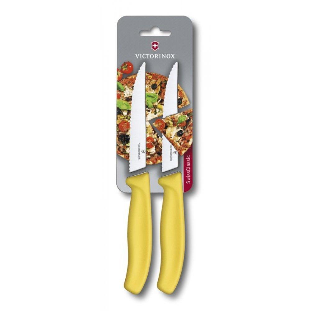 Набор из 2 ножей для стейка и пиццы VICTORINOX SwissClassic Gourmet, 12 см, жёлтая рукоять 6.7936.12L8B