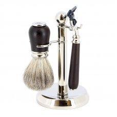 Бритвенный набор S.Quire: станок, помазок, подставка; коричневый 6167
