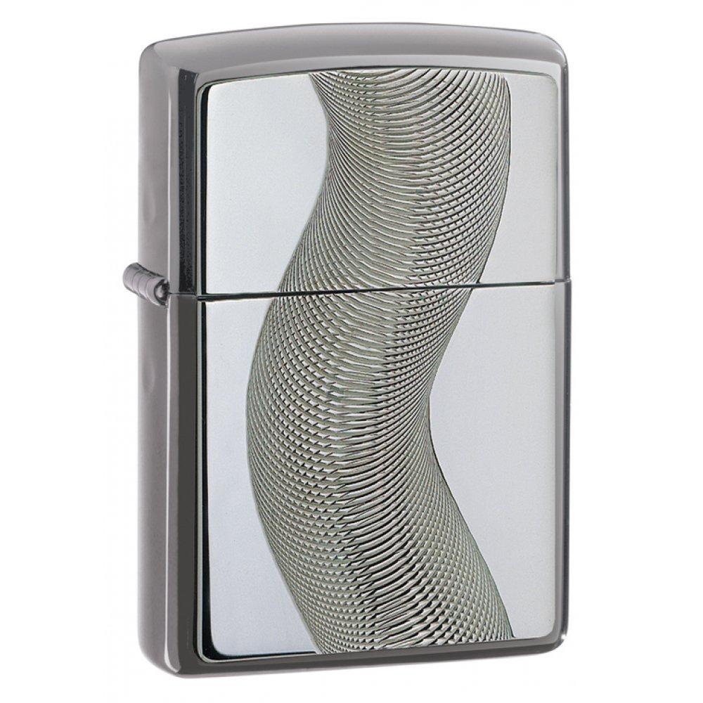Зажигалка ZIPPO Classic с покрытием Black Ice ®, латунь/сталь, чёрная, глянцевая, 36x12x56 мм 667