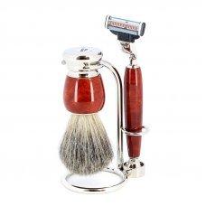Бритвенный набор S.Quire: станок, помазок, подставка; красно-коричневый 6799