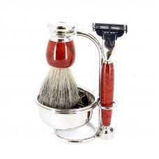 Бритвенный набор S.Quire: станок, помазок, чаша подставка; красно-коричневый 6800