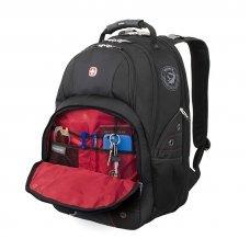 """Рюкзак WENGER, 15"""",чёрный/красный, полиэстер 900D/600D/искуственная кожа, 34x18x47 см, 29 л 6939201408"""