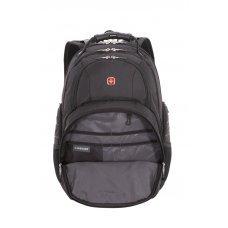 """Рюкзак WENGER, 15"""", чёрный/серебристый, полиэстер 900D/600D/искуственная кожа, 34x18x47 см, 29 л 6939204408"""