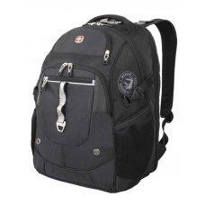 """Рюкзак WENGER, 15"""", чёрный/серебристый, полиэстер 900D/М2 добби/искуственная кожа, 34x22x46 см, 34 л 6968204408"""