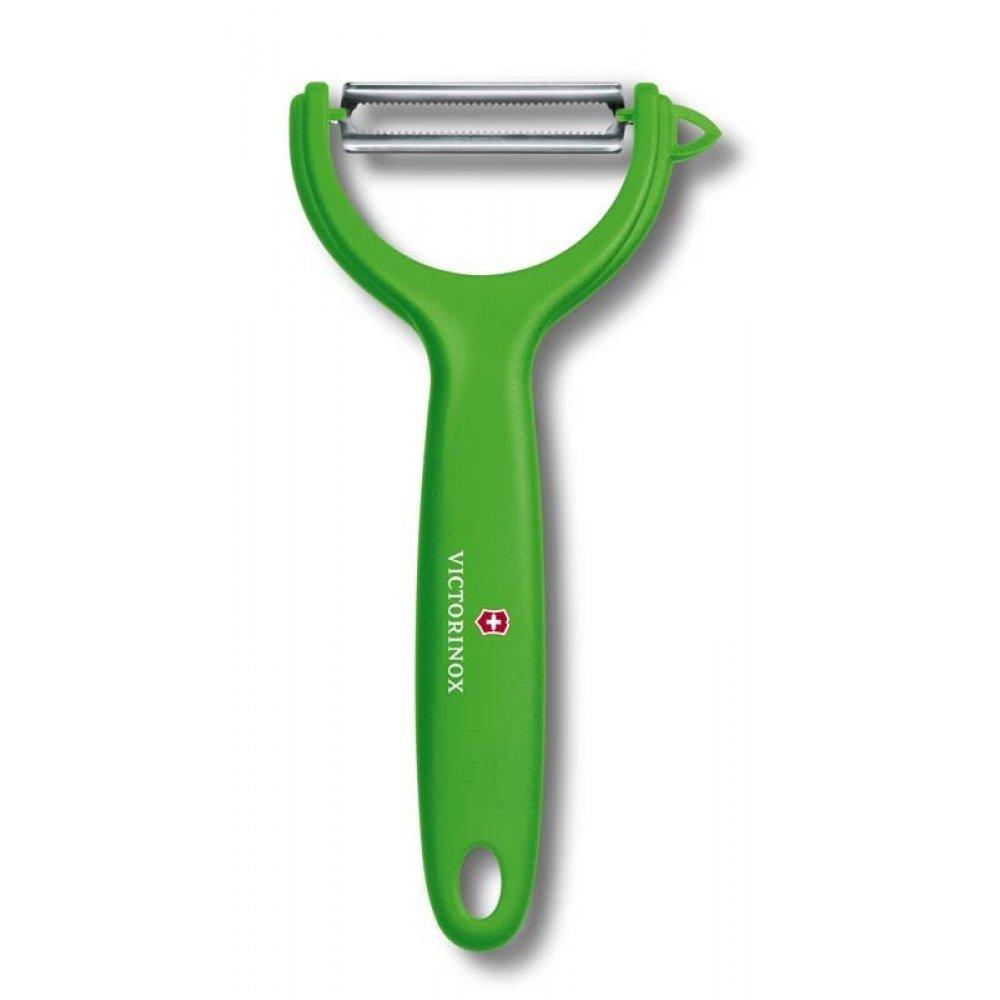 Нож для чистки томатов и киви VICTORINOX, двусторонее зубчатое лезвие, зелёная рукоять 7.6079.4