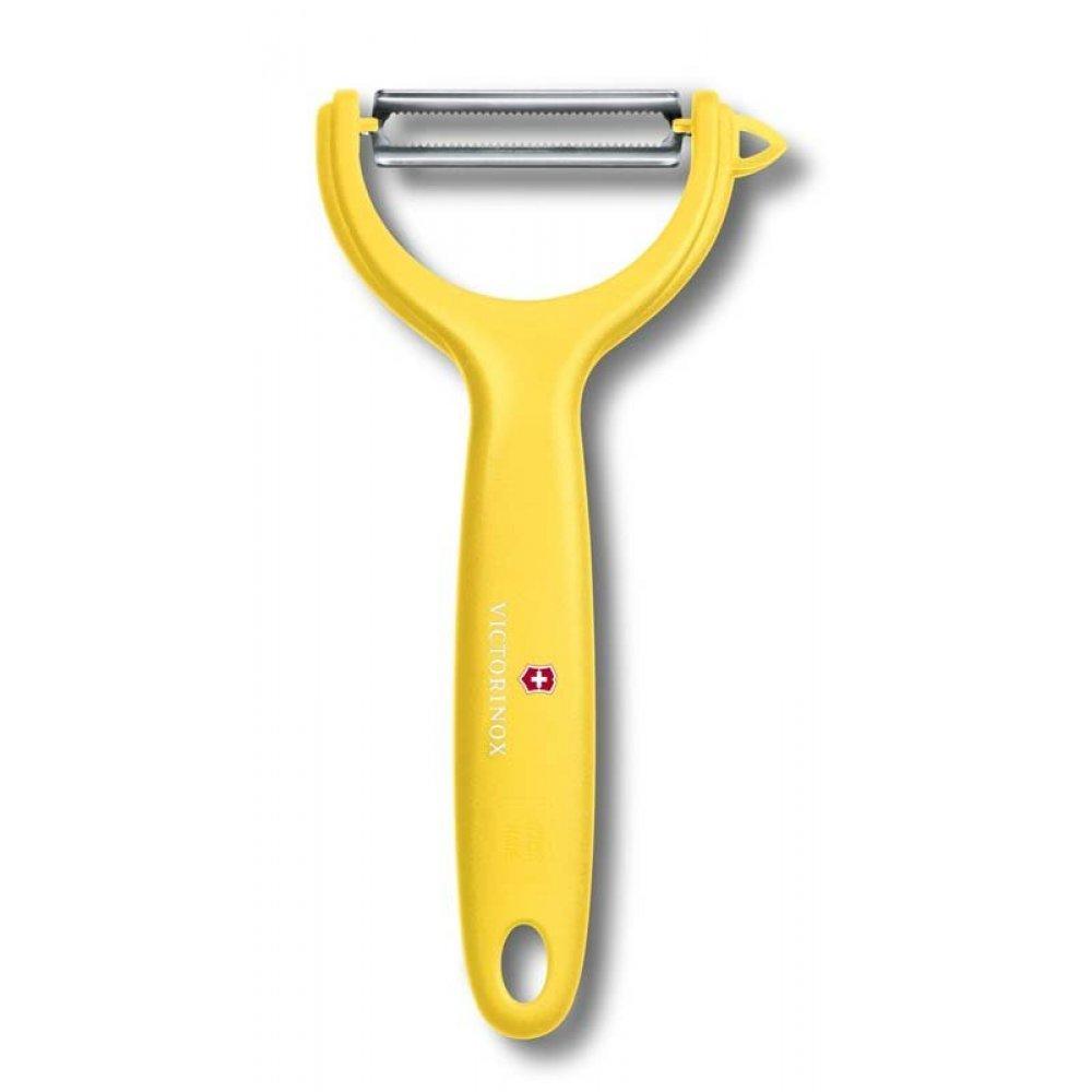 Нож для чистки томатов и киви VICTORINOX, двусторонее зубчатое лезвие, жёлтая рукоять 7.6079.8