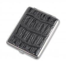 Портсигар S.Quire, сталь+искусственная кожа, черный цвет с рисунком, 96*93*19 мм AB02-05-2