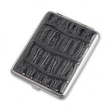 Портсигар S.Quire, сталь+искусственная кожа, черный цвет с рисунком, 74*95*18 мм AB02-05