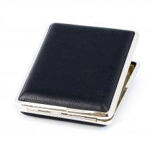 Портсигар S.Quire, сталь+искусственная кожа, черный цвет, гладкий, 96*93*19 мм AB02-19-2