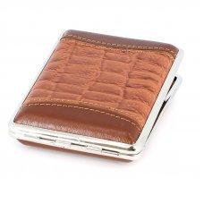 Портсигар S.Quire, сталь+натуральная кожа, коричневый цвет с рисунком, 74*95*18 мм AB02-3077
