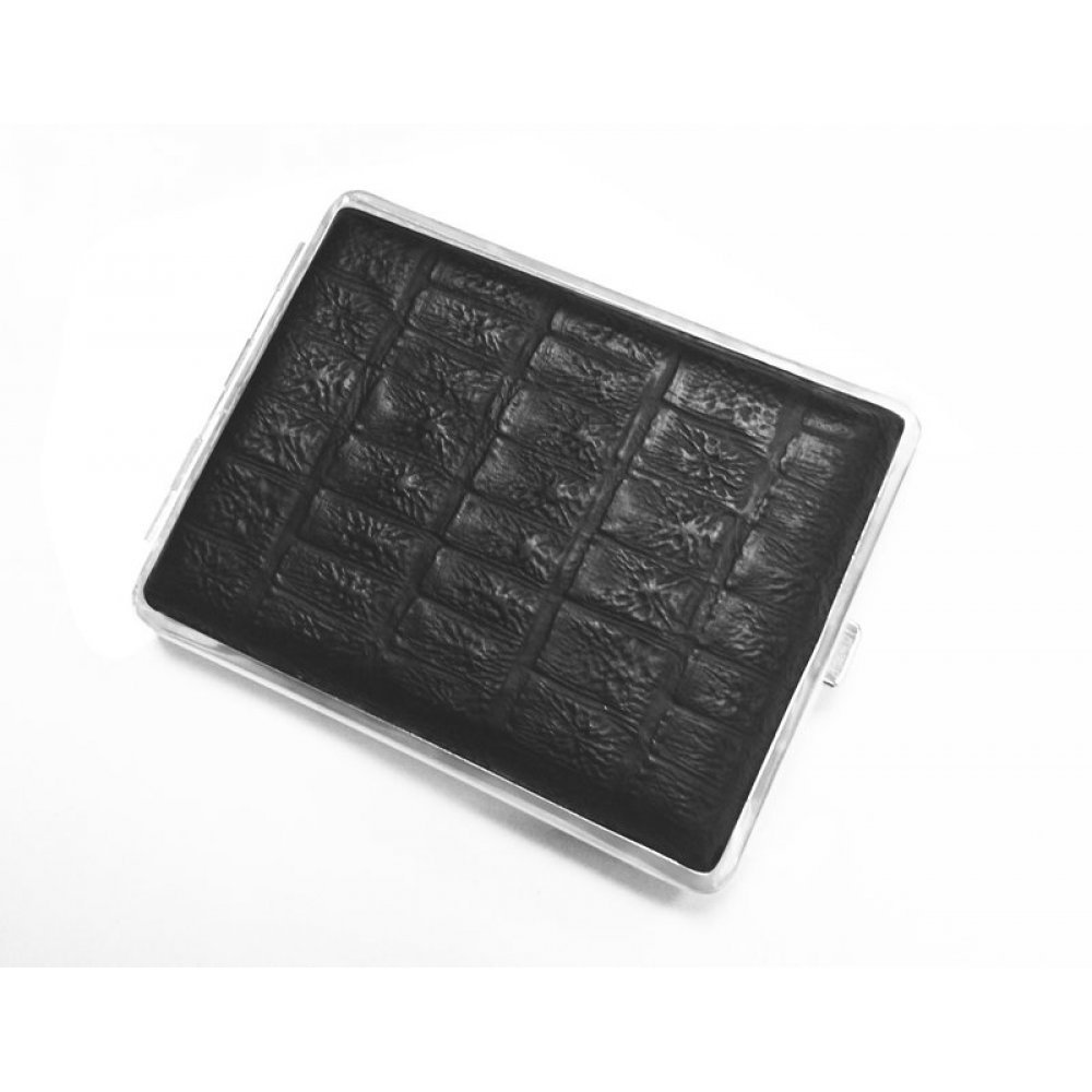 Портсигар S.Quire, сталь+натуральная кожа, чёрный  цвет с рисунком, 74*95*18 мм AB02-3095-01