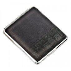 Портсигар S.Quire, сталь+натуральная кожа, черный цвет с рисунком, 74*95*18 мм AB02-3158B