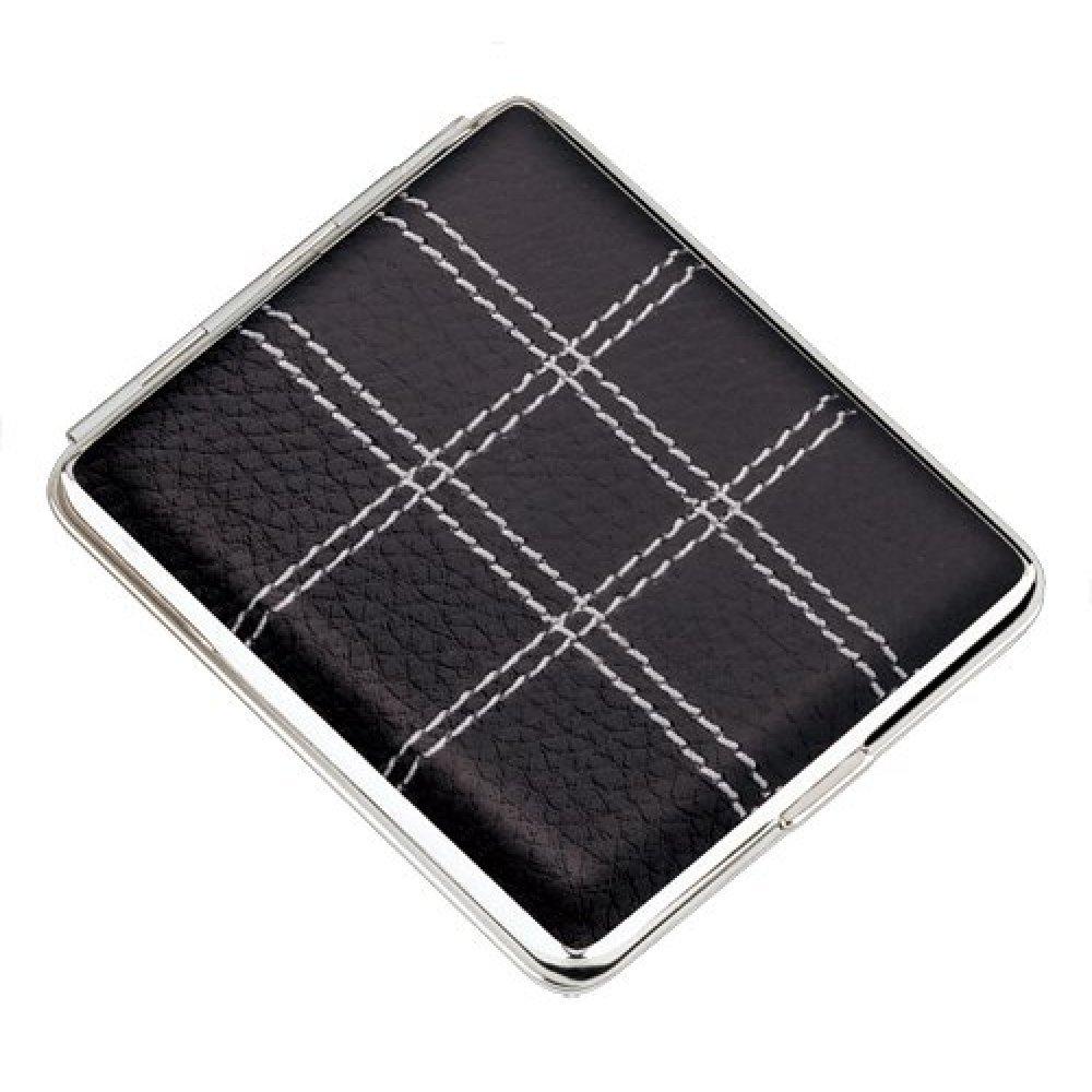 Портсигар S.Quire, сталь+натуральная кожа, черный цвет с прострочкой, 74*95*18 мм AB02-3175