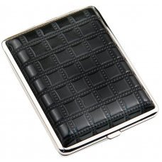 Портсигар S.Quire, сталь+искусственная кожа, черный цвет с рисунком, 96*93*19 мм AB02-BSQU-2