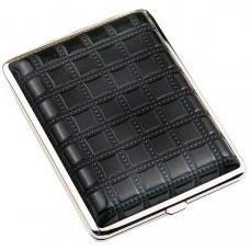 Портсигар S.Quire, сталь+искусственная кожа, черный цвет с рисунком, 74*95*18 мм AB02-BSQU