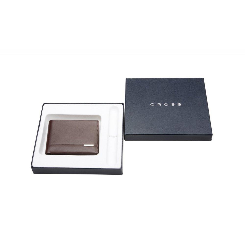 Портмоне Cross Classic Century, кожа наппа, фактурная, цвет - коричневый. 11x8.5x1.5 см AC018068-3