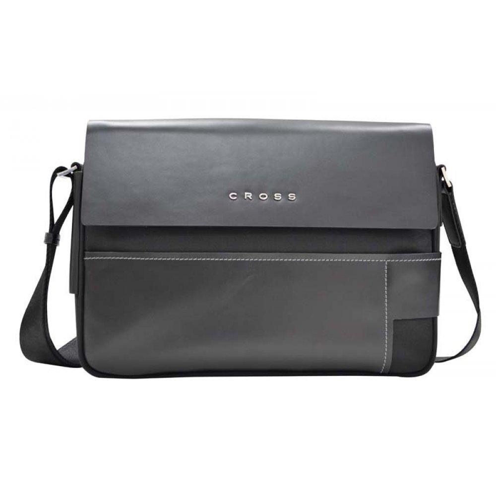 Сумка наплечная, Cross Seville,кожа наппа гладкая+ткань, цвет чёрный, 35 х 25 х 9 см AC151122-1