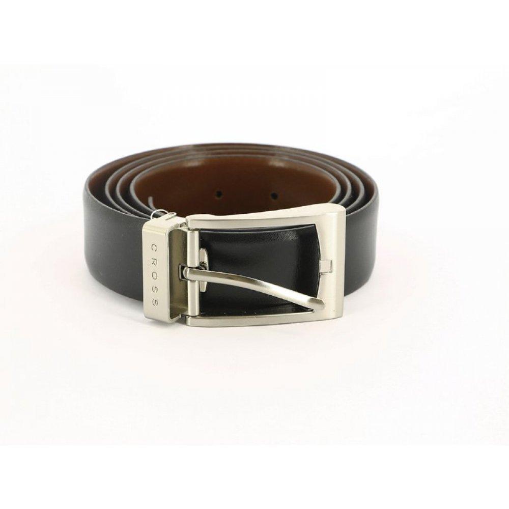 Ремень Cross Mansera, двухсторонний, кожа наппа гладкая,цвет чёрный/коричневый, 117 х 3.5 см AC308414-XL