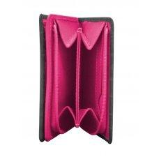 Кошелёк Cross Bebe Coco, кожа наппа фактурная, цвет чёрный/розовый, 11.2 х 9.4 х 2 см AC578083-1